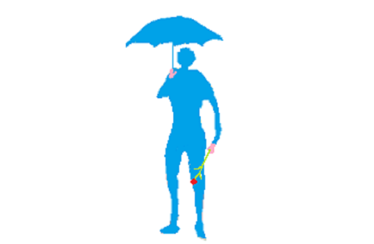 雨の中傘をさし待つ男