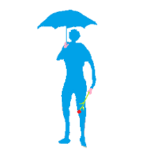 孤独に傘をさす男のシルエット画像