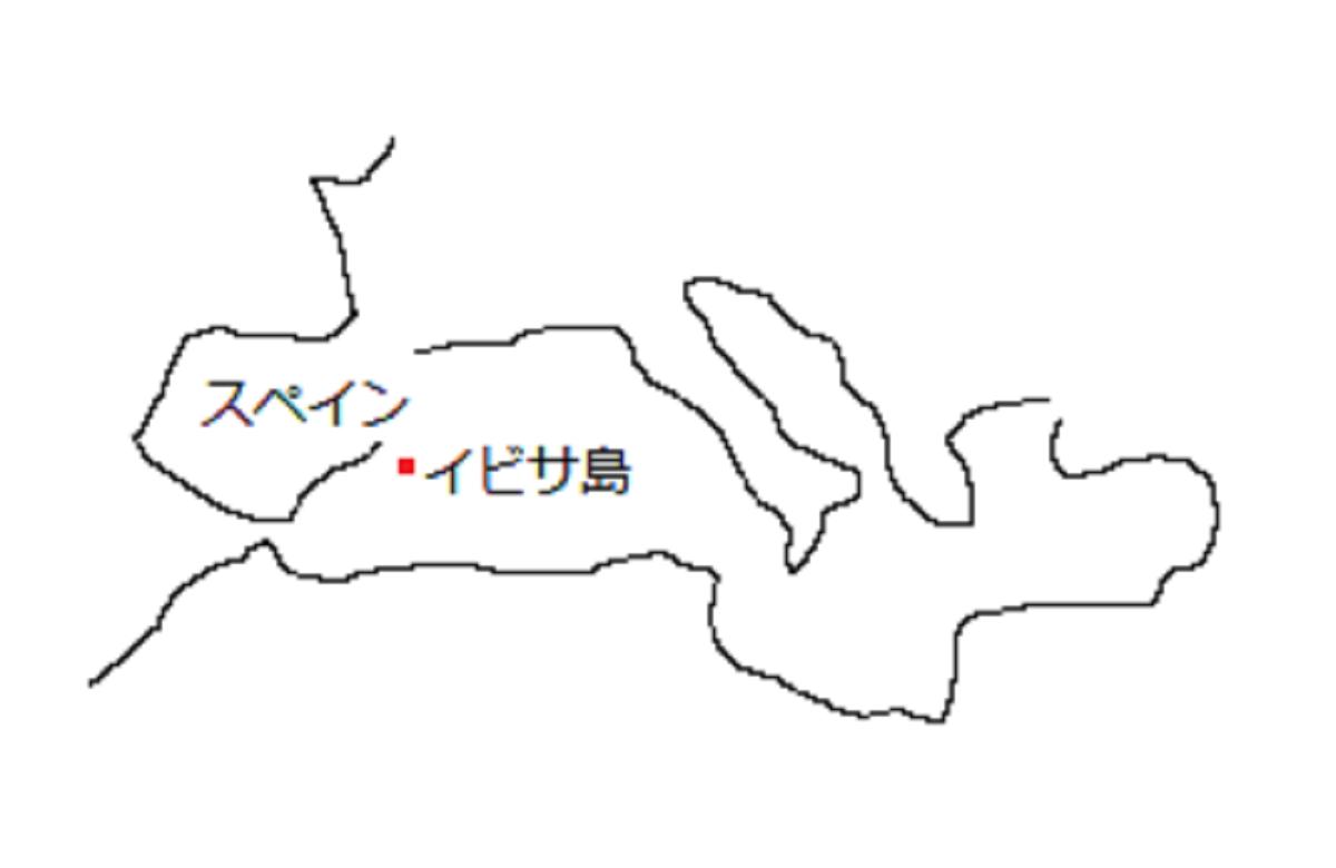 地中海沿岸の地図とイビサ島の位置