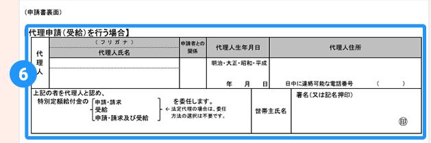 特別定額給付金申請書の代理人申請記入欄
